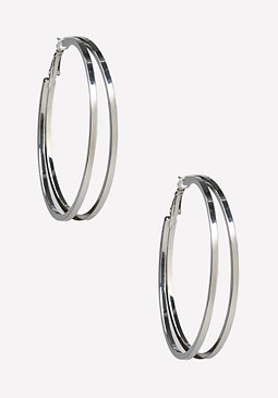 bebe Double Row Hoop Earrings