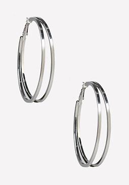 bebe Double Row Hoop Earrings