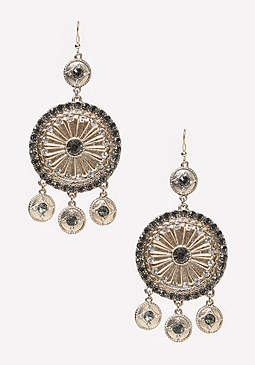bebe Metal Disc & Coin Earrings