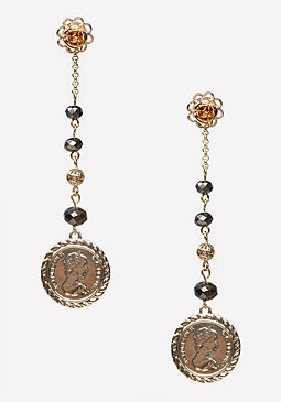 bebe Bead & Coin Linear Earrings
