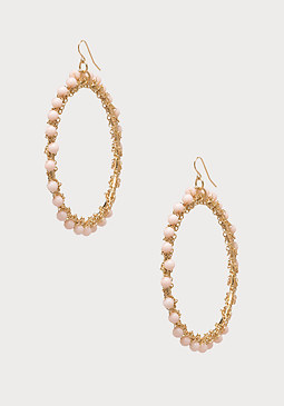 bebe Bead & Chain Hoop Earrings