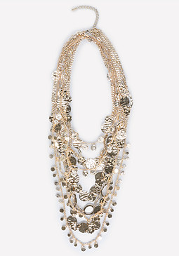 bebe Coin & Drape Chain Necklace