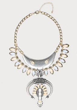 bebe Large Horn & Drop Necklace
