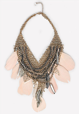 bebe Feather & Leaf Necklace