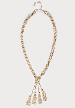 bebe Tassel Rope Chain Necklace