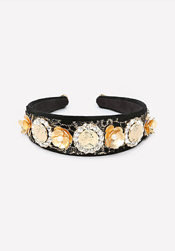 bebe Velvet Gold Coin Headband