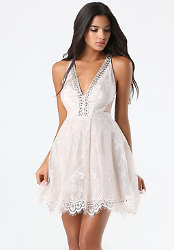 bebe Metallic Lace Flared Dress