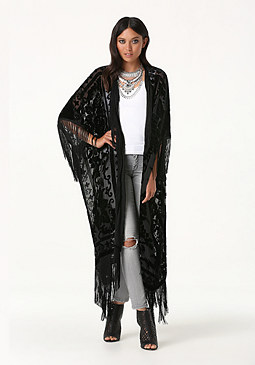 bebe Fringe Burnout Cover Up