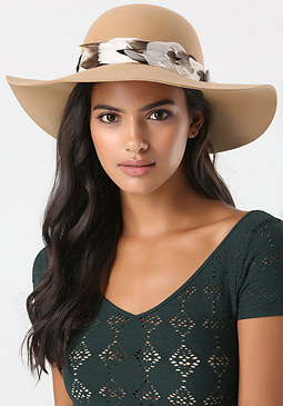 bebe Feather Band Floppy Hat