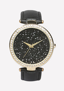 bebe Leather Strap Watch