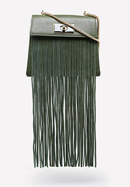 bebe Stacia Fringe Crossbody Bag