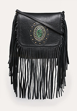 bebe Jamila Fringe Leather Bag