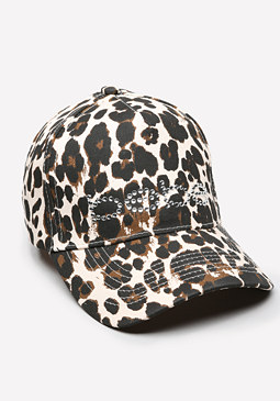 bebe Logo Leopard Baseball Cap