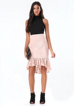 bebe Lace Flounce Midi Skirt