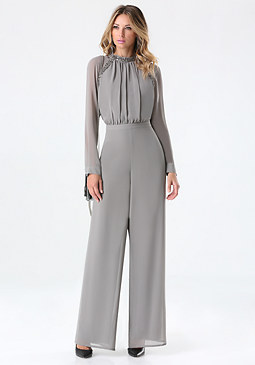 bebe Embellished Neck Jumpsuit