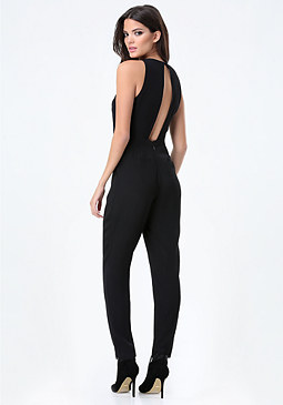 bebe Tapered Peekaboo Jumpsuit