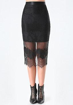 bebe Lace Midi Skirt