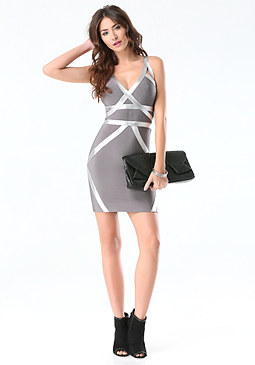bebe Foil Trim Bandage Dress