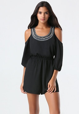 bebe Jewel Cold Shoulder Romper