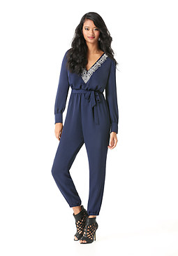 bebe Embroidered V-Neck Jumpsuit