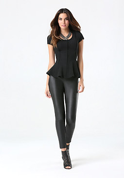 bebe Seam Detail Peplum Top