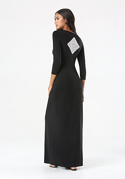 bebe Logo Crochet Maxi Dress
