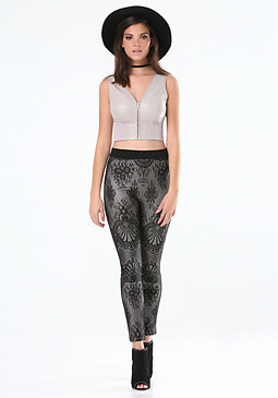 bebe Faux Leather Zip Crop Top