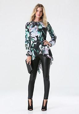 bebe Print Embellished Tunic