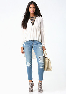 bebe Destroyed Boyfriend Jeans