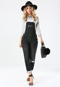bebe Black Denim Overalls