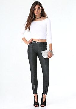 bebe Glitter Denim Skinny Jeans