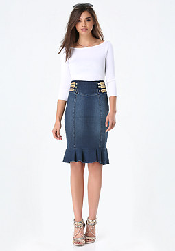 bebe Denim Flounced Skirt