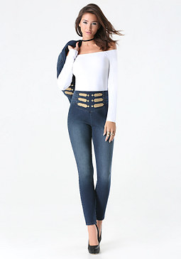 bebe High Rise Sailor Pants