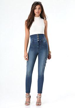 bebe Denim Tuxedo Skinny Jeans