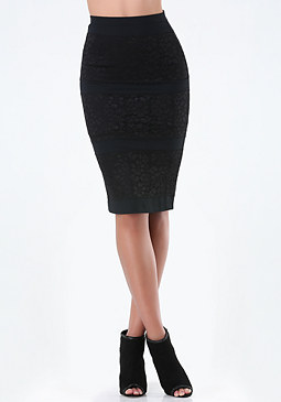 bebe Lace Block Midi Skirt