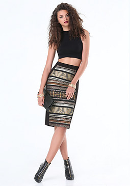bebe Paisley Patchwork Skirt