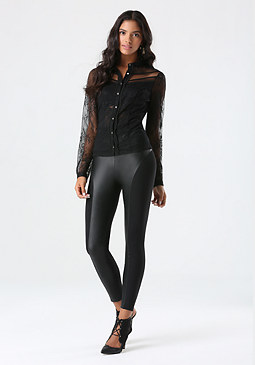 bebe Lace Button Up Shirt