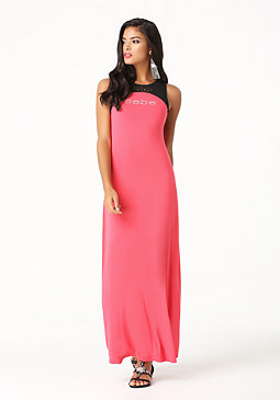 bebe Logo Laser Cut Maxi Dress