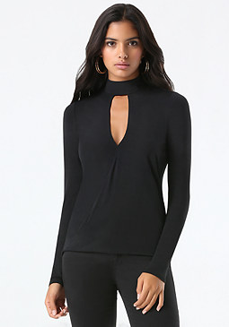 bebe Mock Neck Surplice Top