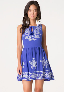 bebe Embroidered Georgette Dress