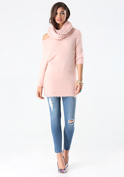 bebe Fuzzy Off Shoulder Sweater
