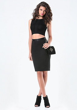 bebe Detailed Ponte Pencil Skirt