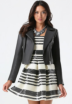bebe Lace Up Leather Jacket