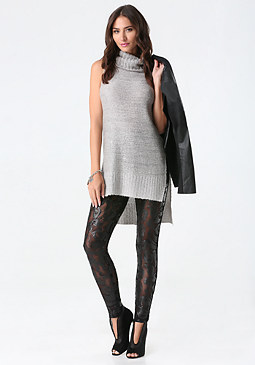 bebe Sequin Sheer Leggings