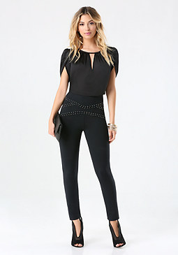 bebe Studded High Waist Leggings