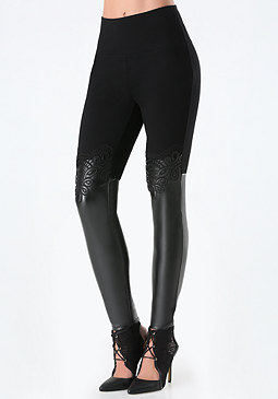 bebe Faux Leather Lace Leggings