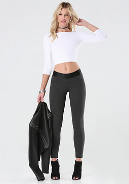 bebe Heathered Ponte Leggings