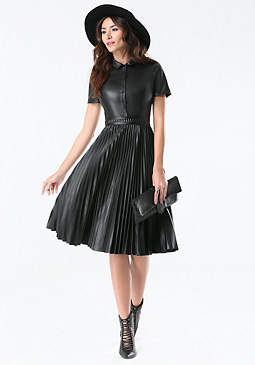 bebe Faux Leather Pleated Dress