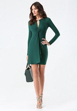 bebe Jersey Front Twist Dress