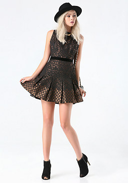 bebe Lina Jacquard Flared Dress